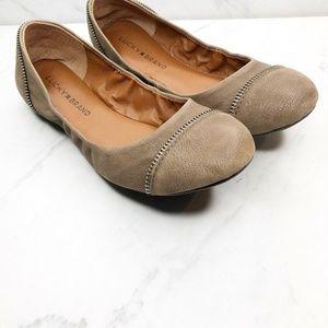 Lucky Brand Esste Zipper Leather Ballet Flats 8